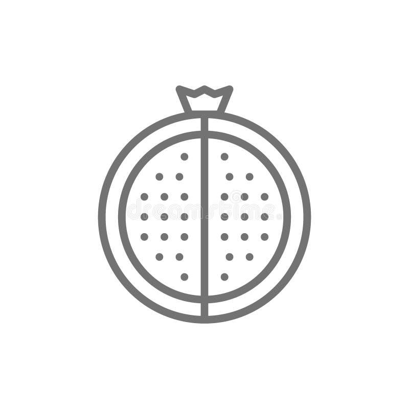 Vektorgranatrött, granatäpplelinje symbol vektor illustrationer