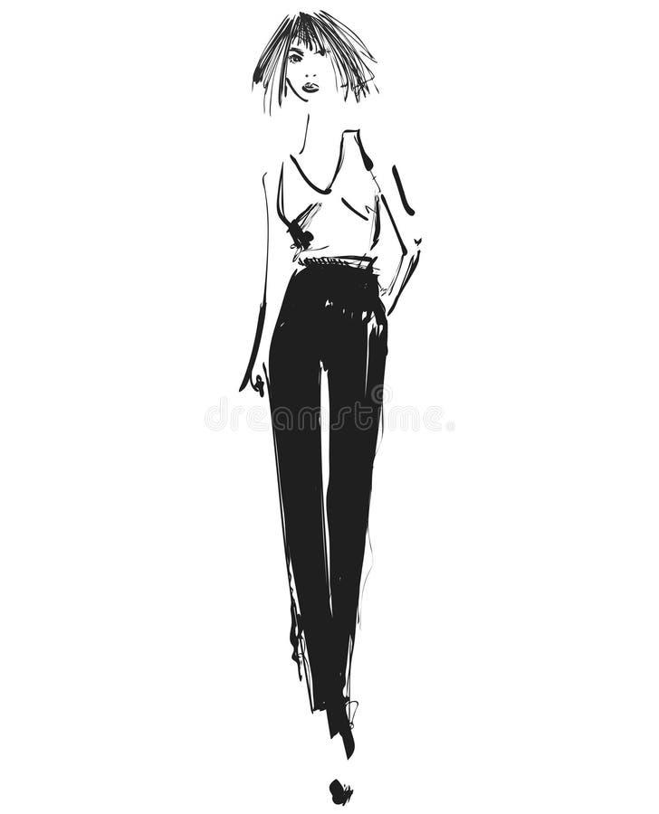 Vektorgraphik mit schönem Modell des jungen Mädchens für Design Mode, Art, Jugend, Schönheit Grafik, Skizzenzeichnung reizvoll vektor abbildung