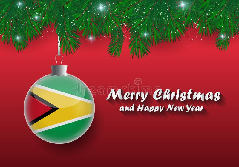 Vektorgrenze von Weihnachtsbaumasten und -ball mit Guyana-Florida lizenzfreie abbildung