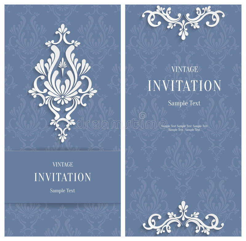 VektorGrey Floral 3d bakgrund Mall för gifta sig eller inbjudankort stock illustrationer