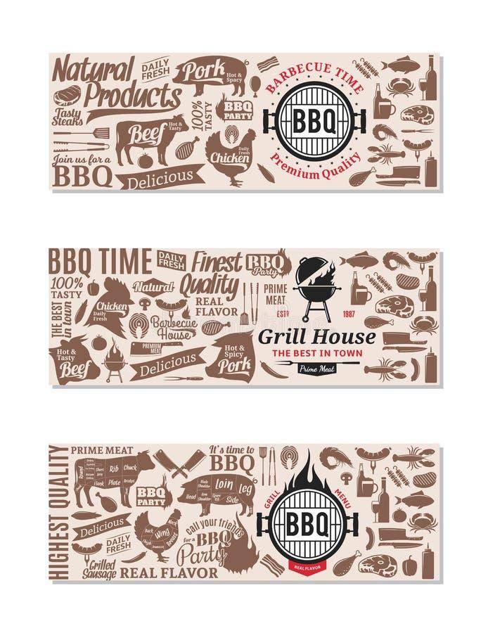 Vektorgrill, Grill und Steakhausfahnen stock abbildung