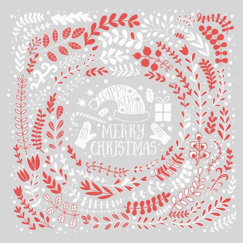 Vektorgrußillustration der frohen Weihnachten Buntes Blattdesign, guten Rutsch ins Neue Jahr-Kartenrahmen stock abbildung