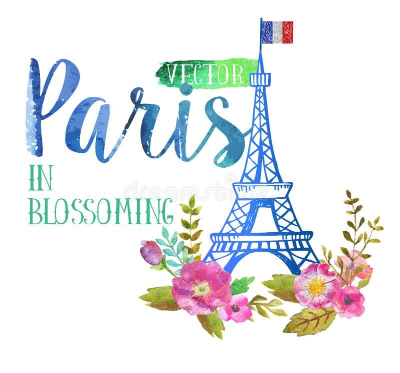 Vektorgrußkarte von Paris stock abbildung