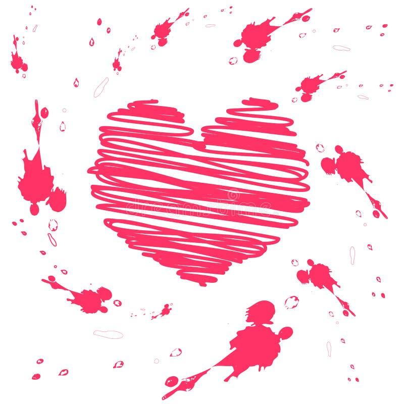 Vektorgrunge Valentinsgrußkarte vektor abbildung