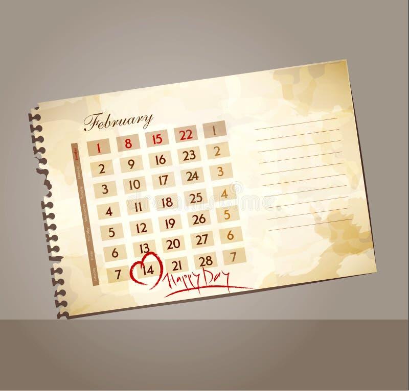 Vektorgrungebakgrund för valentin dag, med kalendern vektor illustrationer