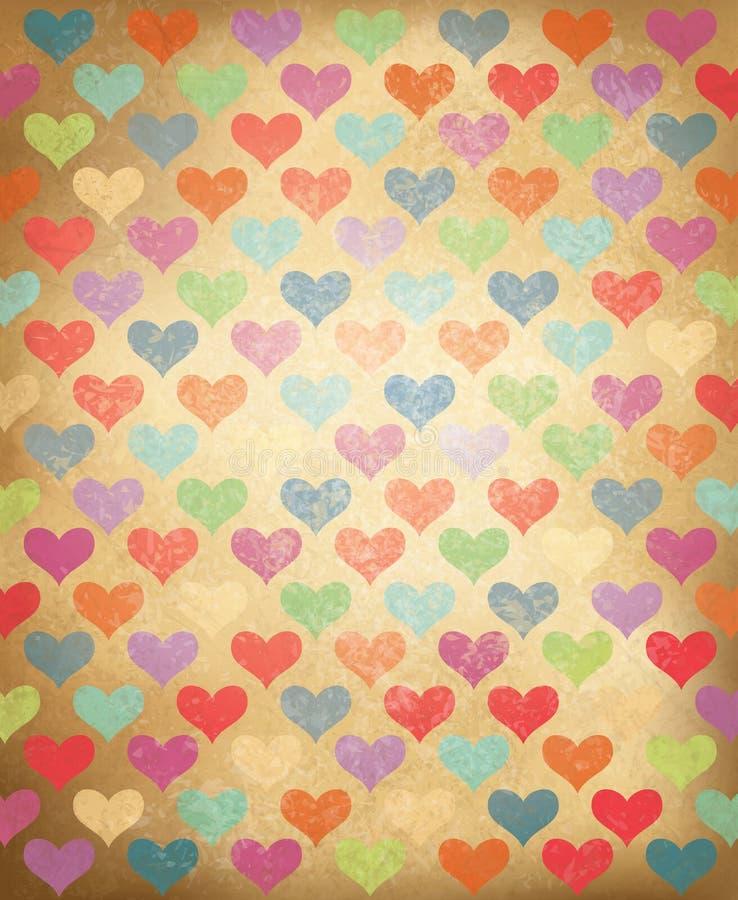 Vektorgrungebakgrund med färgrik hjärtapatt stock illustrationer