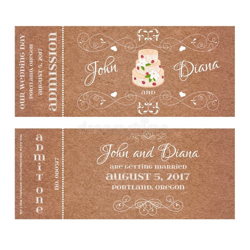 VektorGrungebiljett för att gifta sig inbjudan med kakan och rosor stock illustrationer