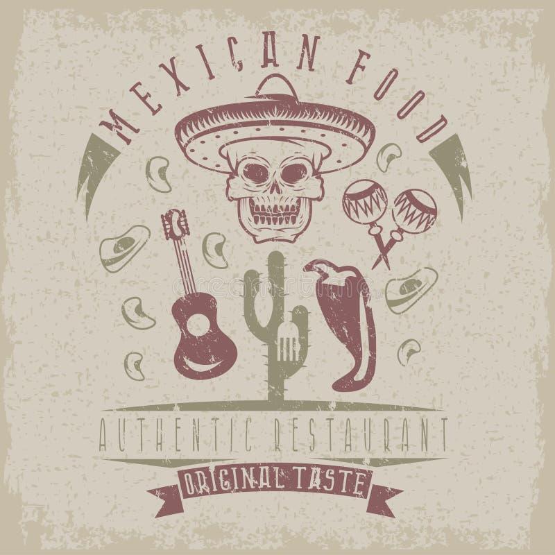 Vektorgrungeemblem av restaurangskallen i mexikansk sombrer stock illustrationer