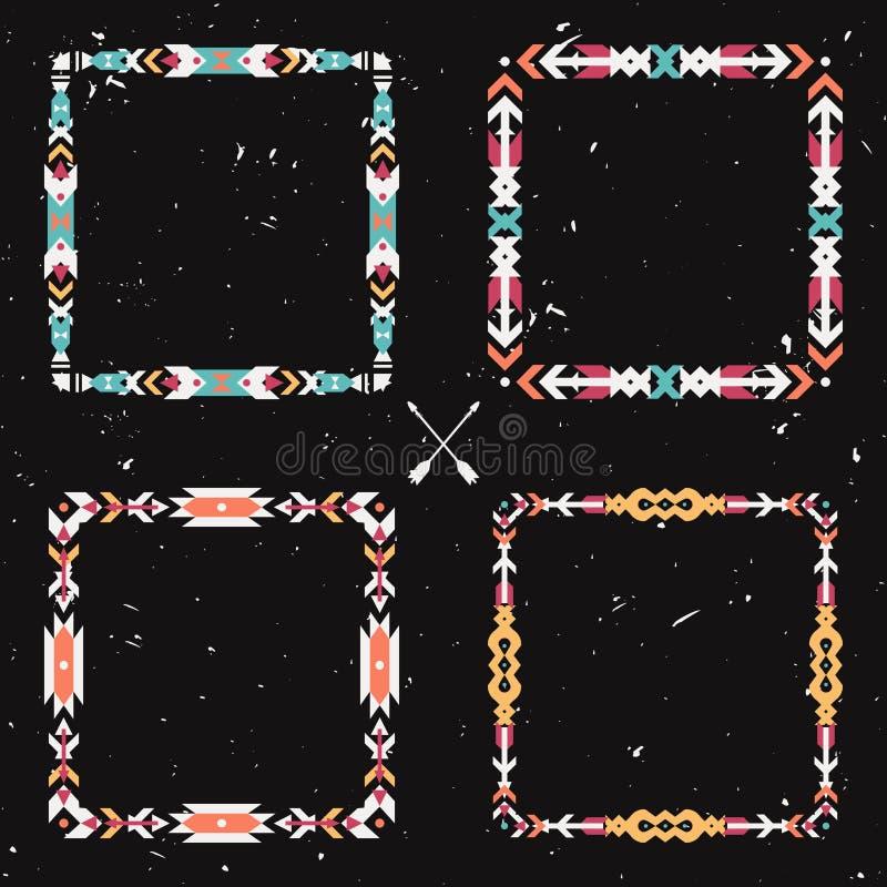 Vektorgrungeuppsättning med abstrakta geometriska person som tillhör en etnisk minoritetramar stock illustrationer
