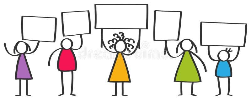 Vektorgrupp av att protestera färgrika pinnediagram, barn, män och kvinnor som står och hållande övre mellanrumsbräden stock illustrationer