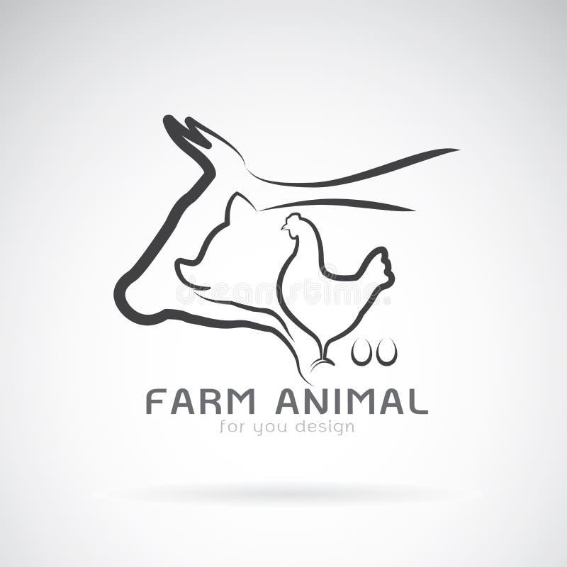 Vektorgrupp av etiketten för djur lantgård ko pig Höna Ägg stock illustrationer