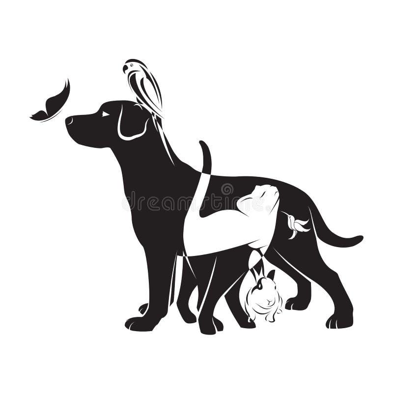 Vektorgrupp av husdjur royaltyfri illustrationer