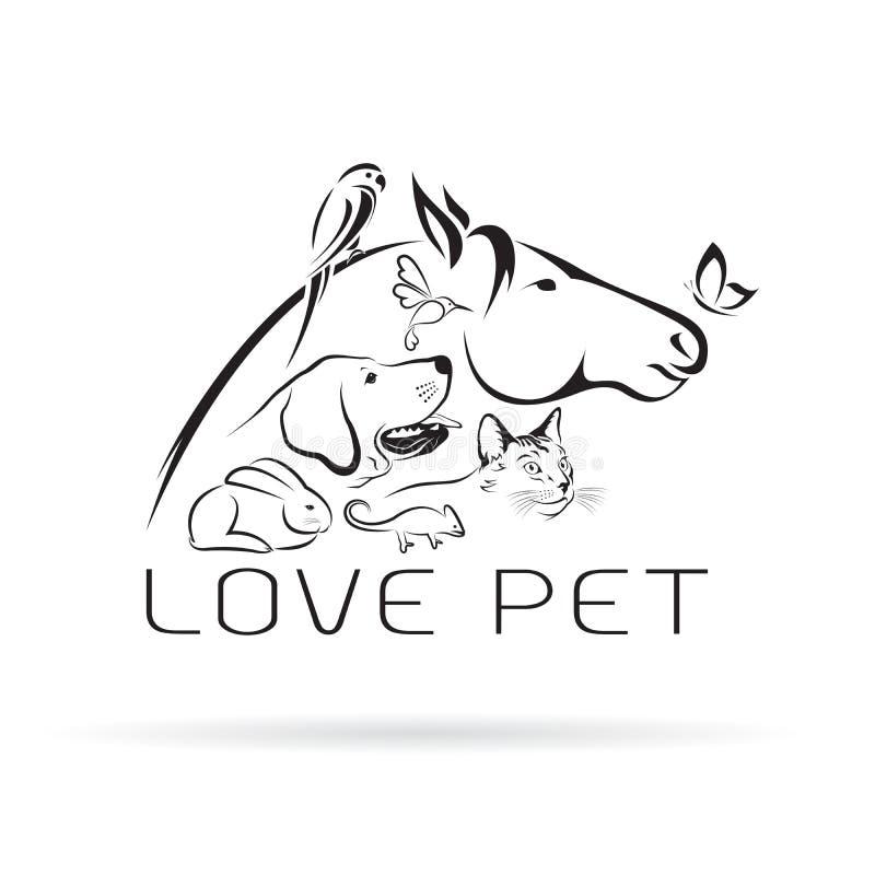 Vektorgrupp av husdjur - häst, hund, katt, fågel, fjäril stock illustrationer