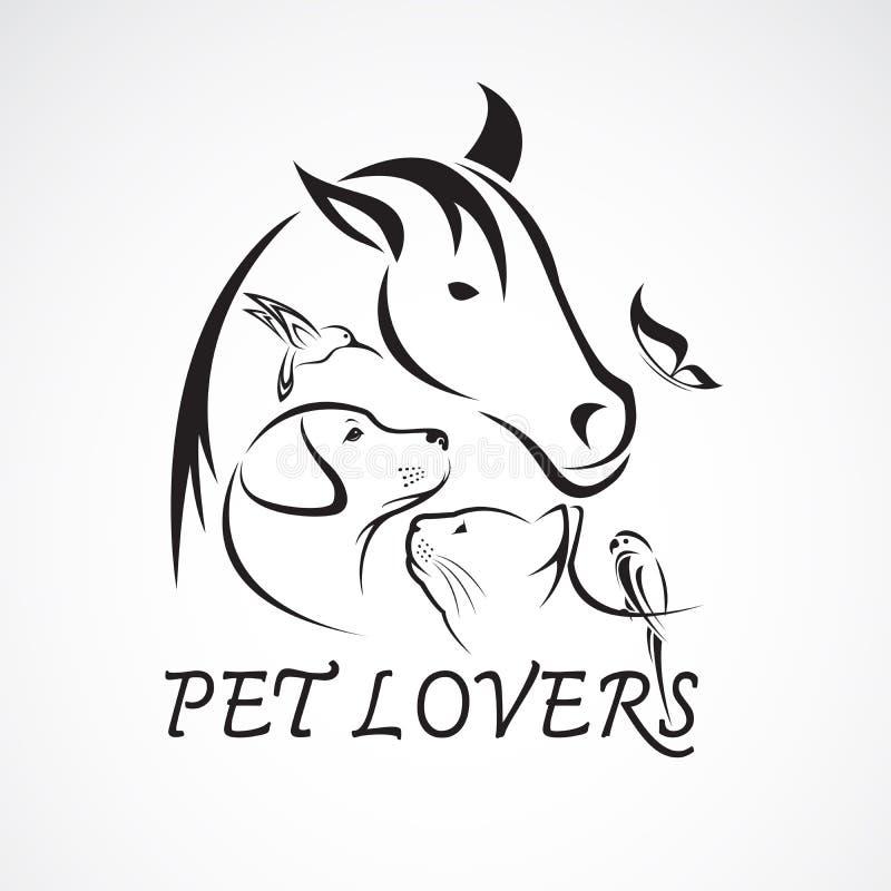 Vektorgrupp av husdjur - häst, hund, katt, fågel, fjäril, kanin royaltyfri illustrationer