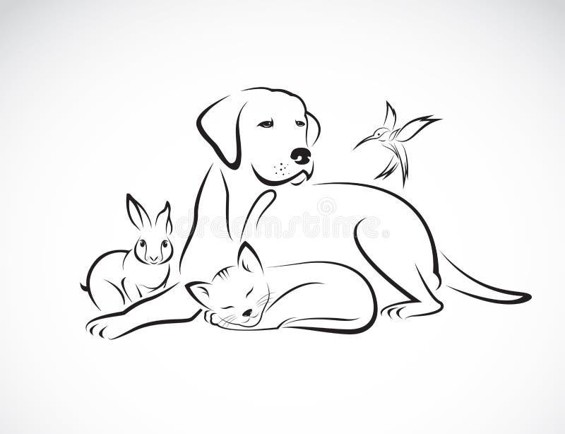 Vektorgrupp av husdjur - hund, katt, fågel, kanin, stock illustrationer