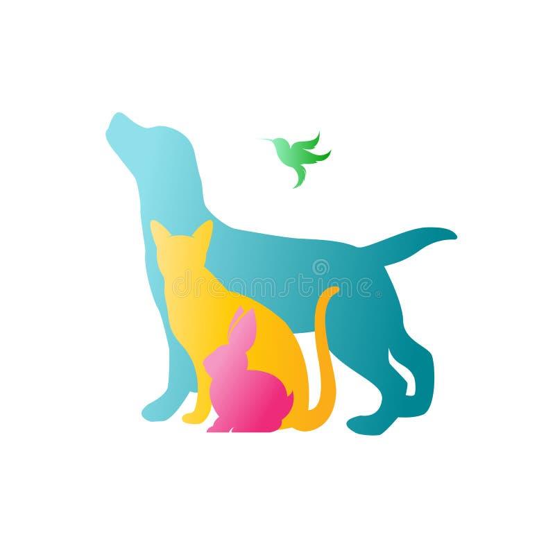 Vektorgrupp av husdjur - hund, katt, kanin, kolibri royaltyfri illustrationer