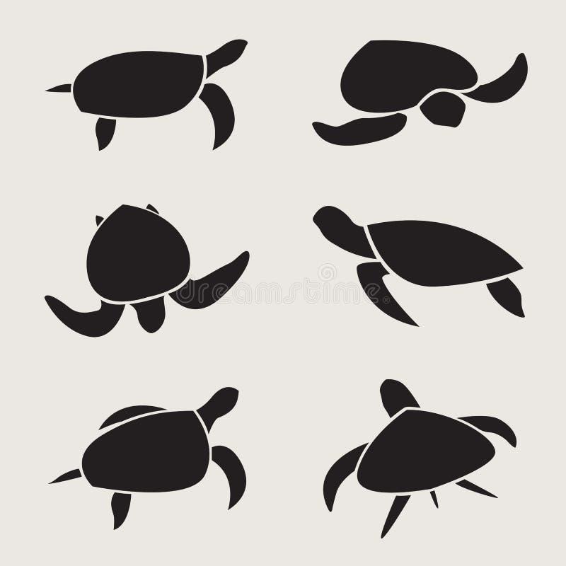 Vektorgrupp av sköldpaddan vektor illustrationer