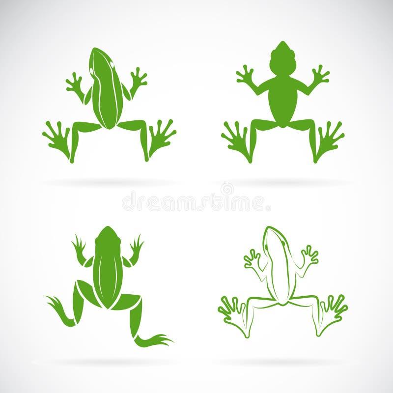 Vektorgruppen av grodor planlägger på vit bakgrund royaltyfri illustrationer
