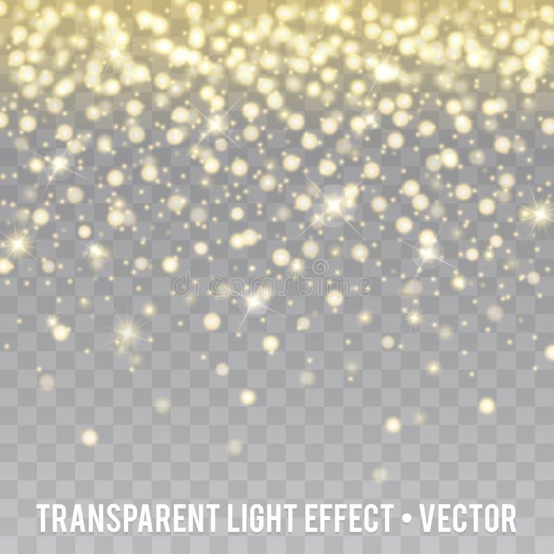 Vektorguld blänker genomskinlig bakgrund för effekt Gnistor för stjärnadamm stock illustrationer