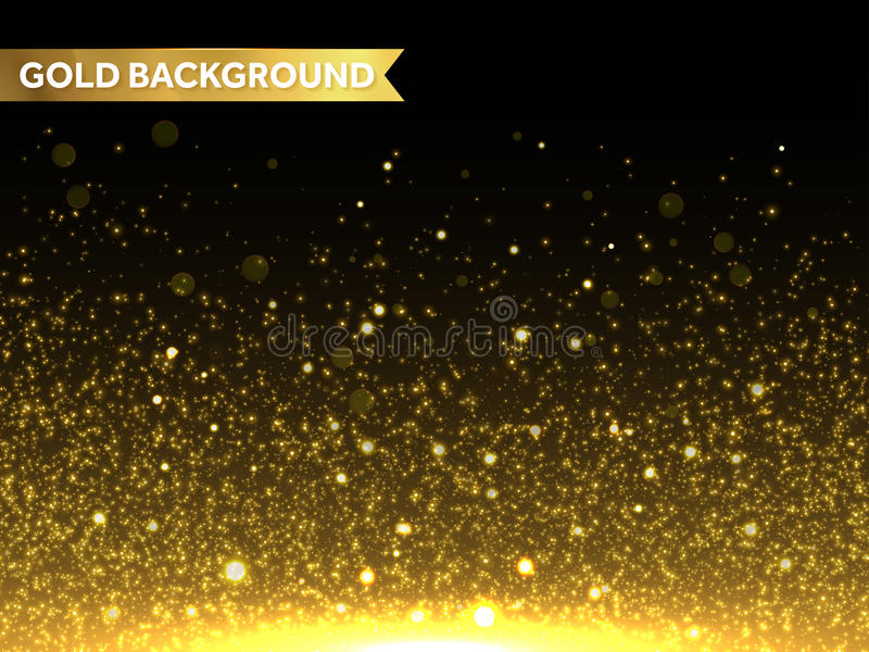 Vektorguld blänker partikelbakgrund Mousserande stjärnatextur royaltyfri illustrationer