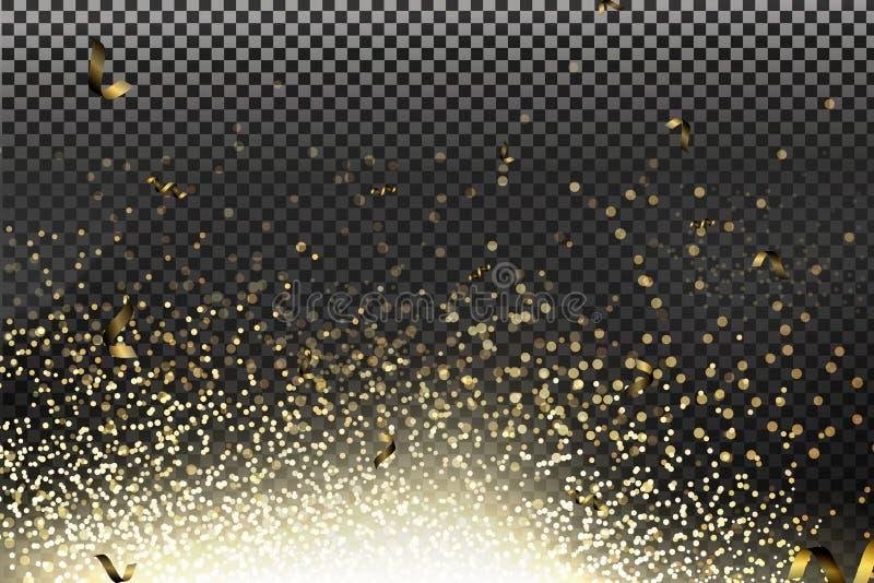 Vektorguld bl?nker partikelbakgrundseffekt f?r lyxigt h?lsningrichkort royaltyfri illustrationer