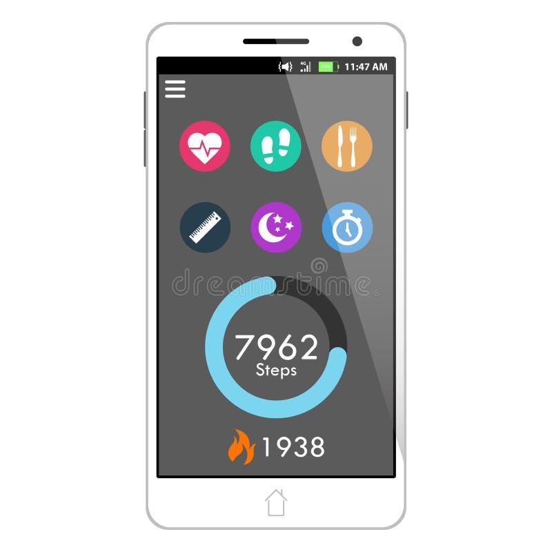 Vektorhälsa och applikation för konditionSmart telefon som presenterar Taskbar, momenträknaren, den brända kaloriräknaren och sex vektor illustrationer