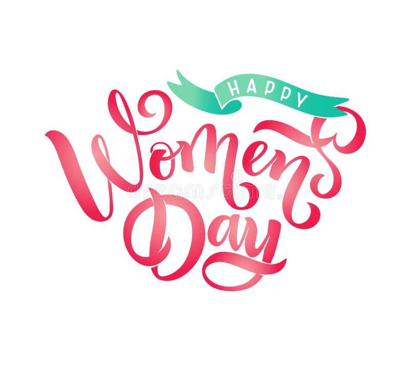 Vektorhälsningcallgraphy som märker lyckliga kvinnors för text dag, band för kortet, emblem, etikett, inbjudan, mall, baner stock illustrationer