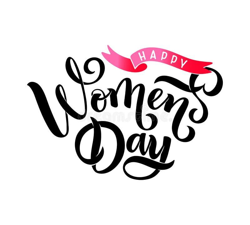 Vektorhälsningcallgraphy som märker lyckliga kvinnors för text dag, band för kortet, emblem, etikett, inbjudan, mall, baner royaltyfri illustrationer