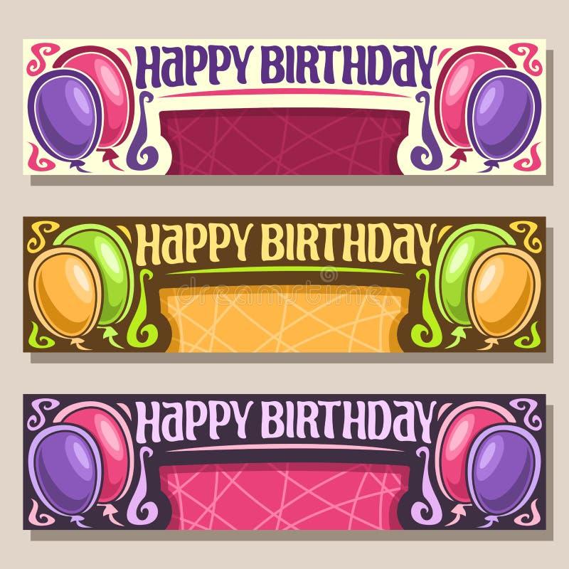 Vektorhälsningkort för lycklig födelsedag stock illustrationer