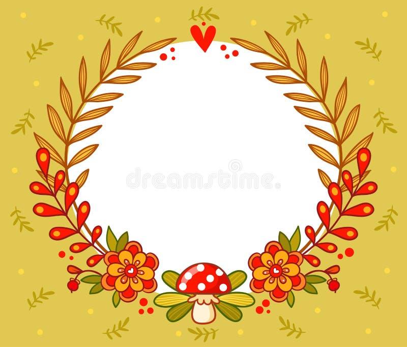 Vektorhälsningkort med blommaramen stock illustrationer