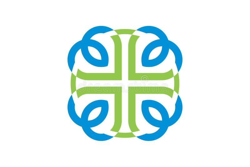 Vektorhälsovård och läkarundersökning Logo Template vektor illustrationer