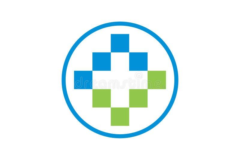 Vektorhälsovård och läkarundersökning Logo Template royaltyfria bilder