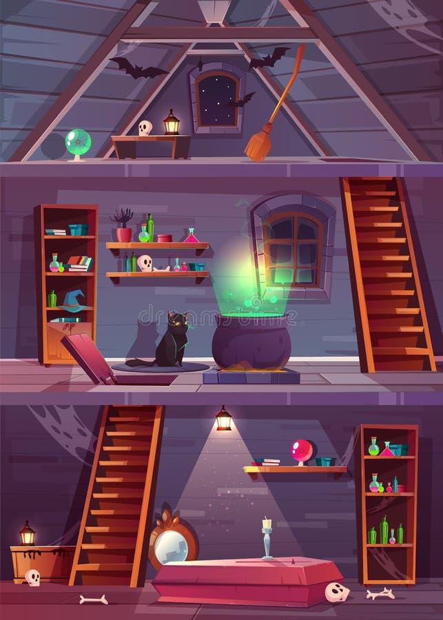 Vektorhäxahus med källaren och loften royaltyfri illustrationer