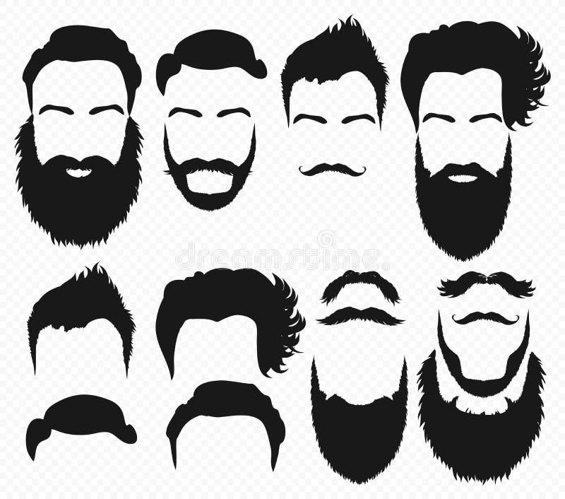 Vektorhår- och skäggformer planlägger konstruktörn med manvektorkonturn Skägg och mustasch för modekontursvart vektor illustrationer