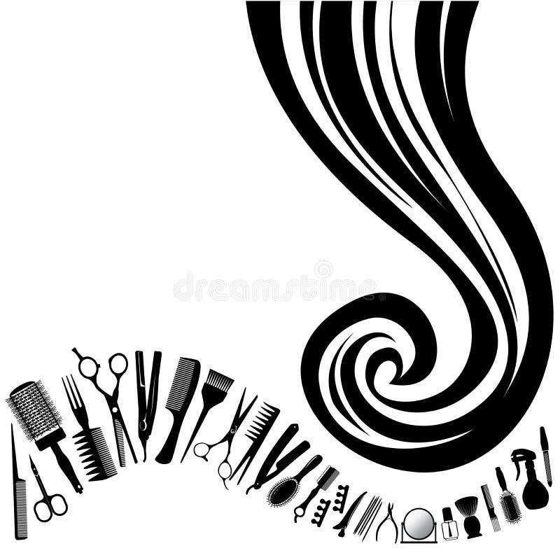 Vektorhårlock av hjälpmedel för hår- och frisör` s vektor illustrationer