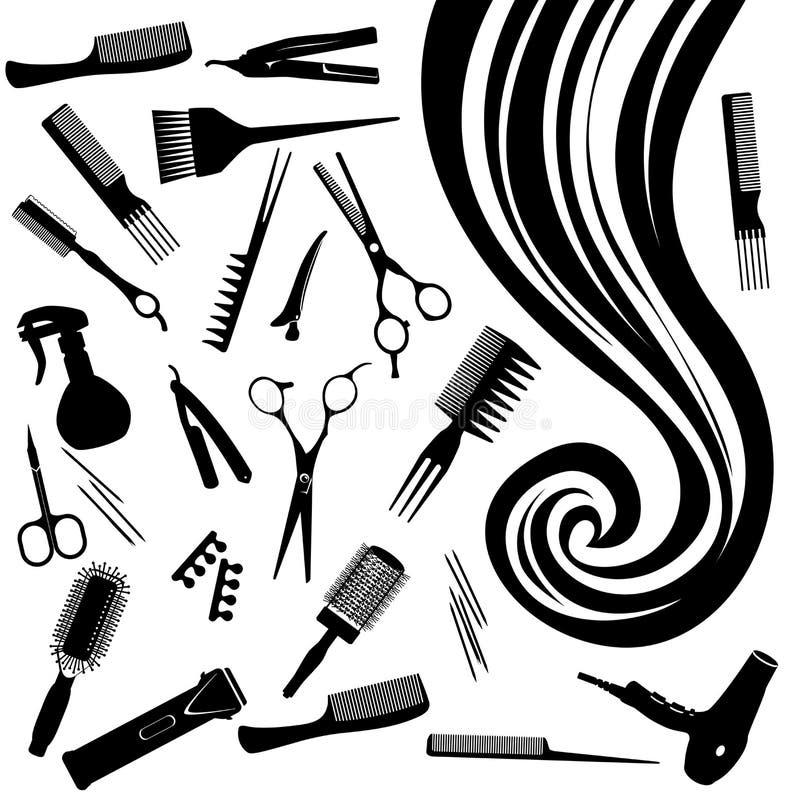 Vektorhårlock av hjälpmedel för hår- och frisör` s royaltyfri illustrationer