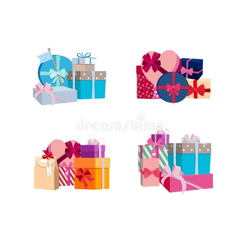 Vektorhögar av gåvaaskar och packar ställde in royaltyfri illustrationer