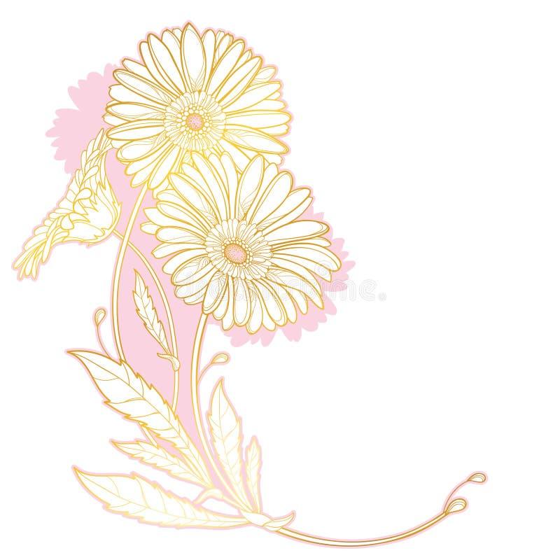 Vektorhörnbukett av översiktsgerberaen eller Gerber blomma och blad i pastellfärgade rosa färger och guld som isoleras på vit bak royaltyfri illustrationer
