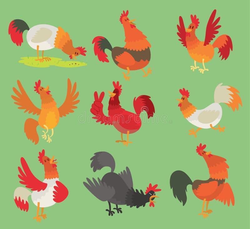 Vektorhahnhahnhühnerzeichentrickfilm-figur-Illustration Hahn lokalisiert auf Hintergrund Vieh-Vogelsymbol vektor abbildung