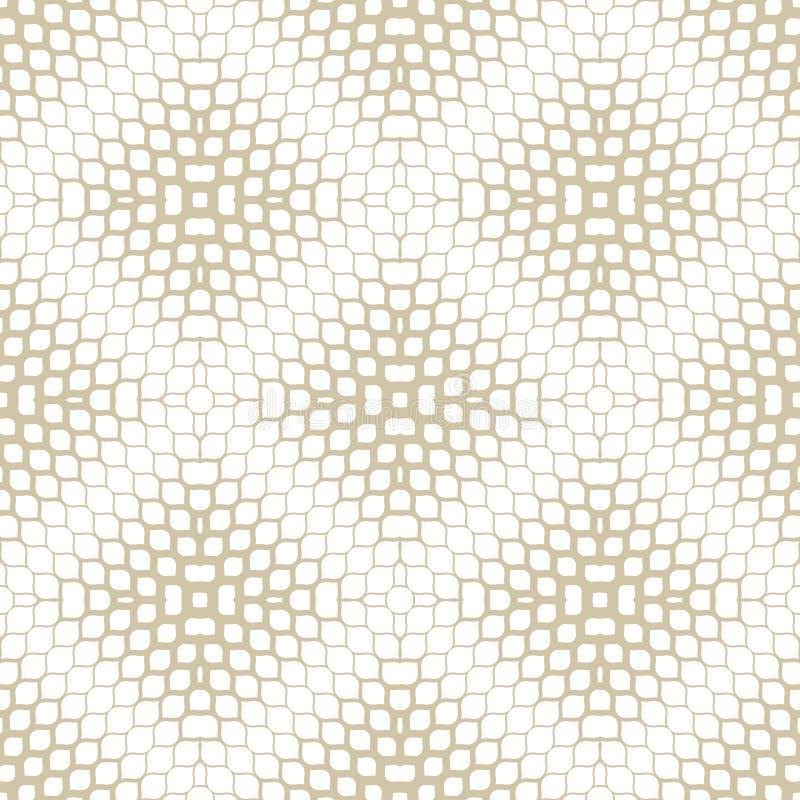 Vektorhalbtonmaschenbeschaffenheit Gold- und der wei?en Zusammenfassunggeometrisches nahtloses Muster vektor abbildung