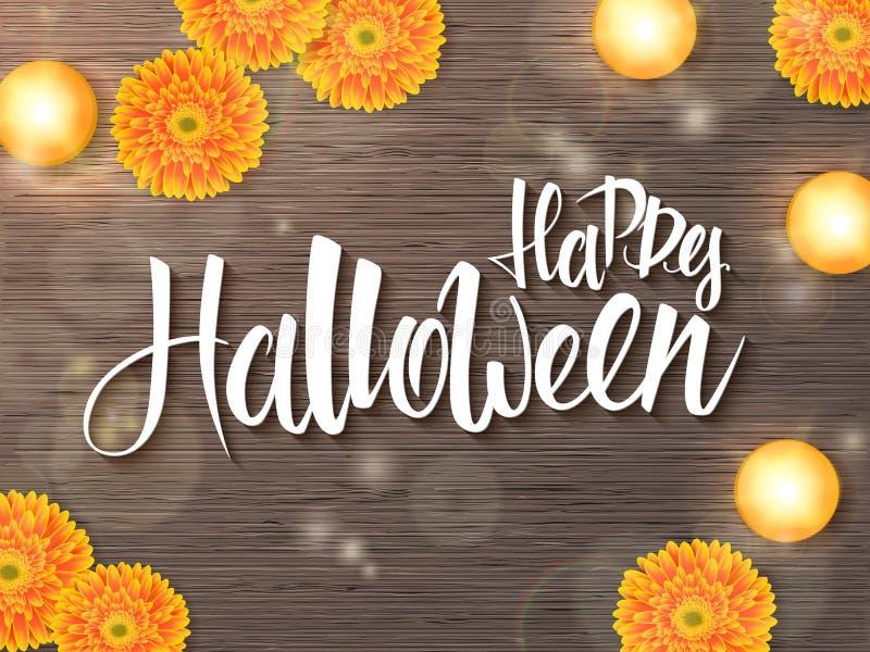 Vektorhalloween affisch med etiketten för handbokstäverhälsningar - lyckliga halloween - på skrivbordet med den gerberablomman oc stock illustrationer