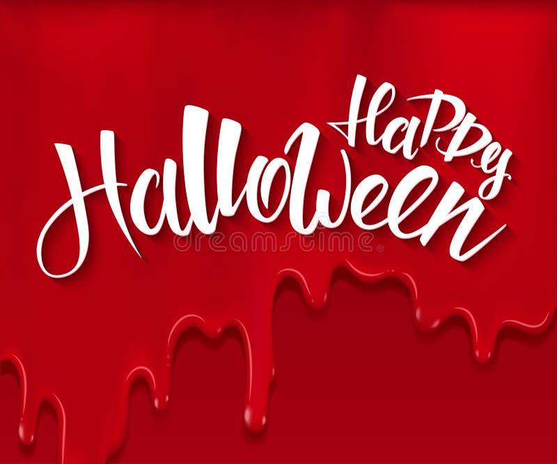 Vektorhalloween-Plakat mit Handbeschriftungs-Grußaufkleber - glückliches Halloween - auf roten blutigen Tropfenfängern stock abbildung