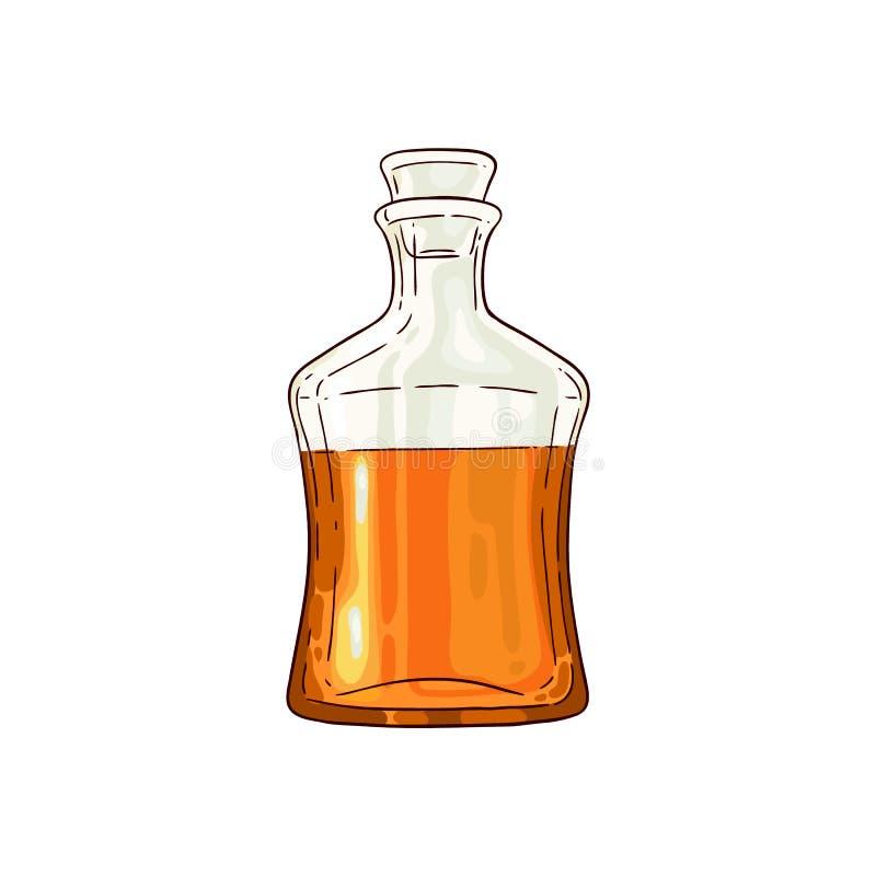 Vektorhalvan av whisky kväv glasflaskasymbolen royaltyfri illustrationer
