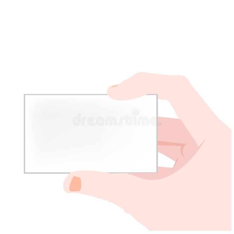 Vektorhand, die unbelegte Karte anhält stock abbildung