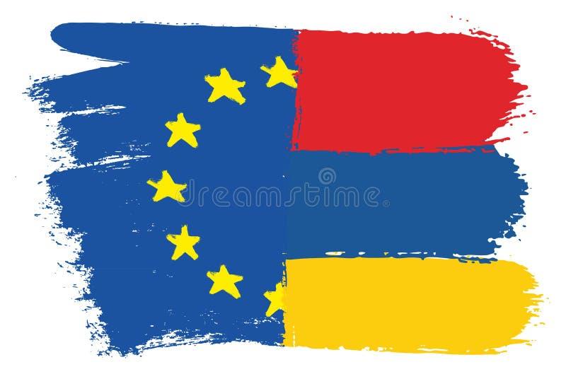 Vektorhand för europeisk facklig flagga som & Armenien flaggamålas med den rundade borsten stock illustrationer