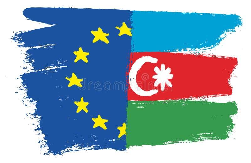 Vektorhand för europeisk facklig flagga som & Azerbajdzjan flaggamålas med den rundade borsten stock illustrationer