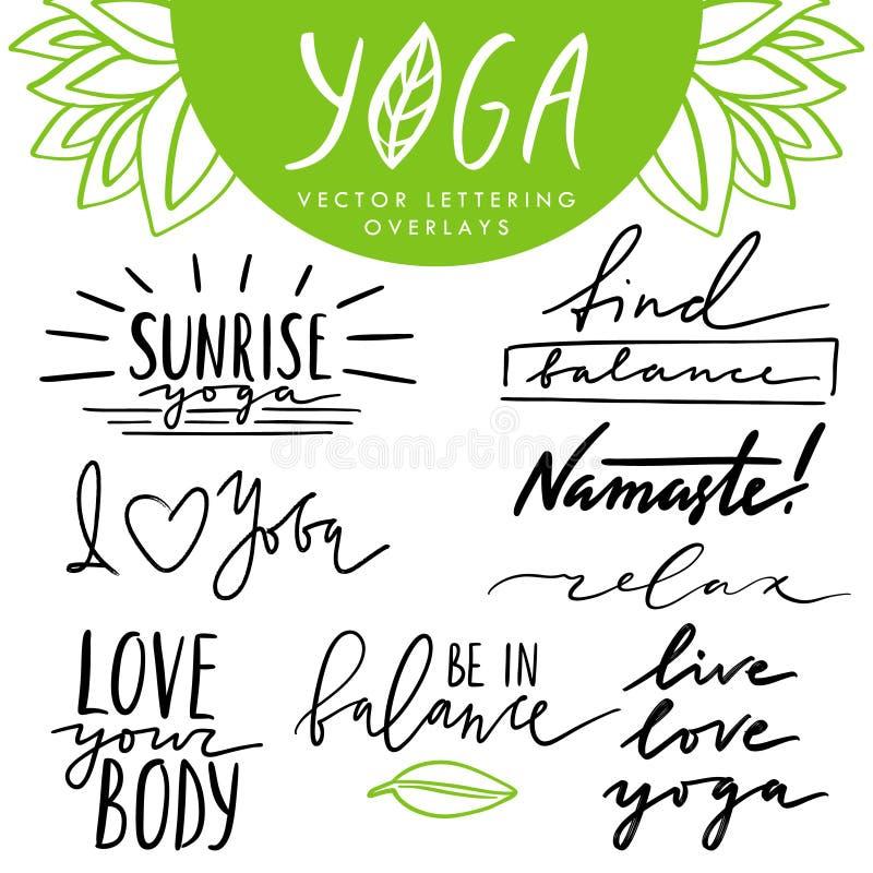 Vektorhand gezeichnet, die Überlagerungen beschriftend eingestellt über Yoga und gesunden Lebensstil Sammlung Zitate und Phrasen  stock abbildung