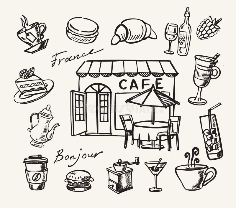 Vektorhand gezeichnet vom Café lizenzfreie abbildung