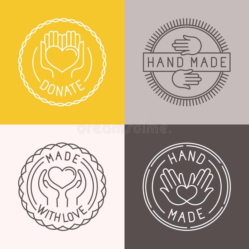 Vektorhand - gjorda etiketter och emblem stock illustrationer
