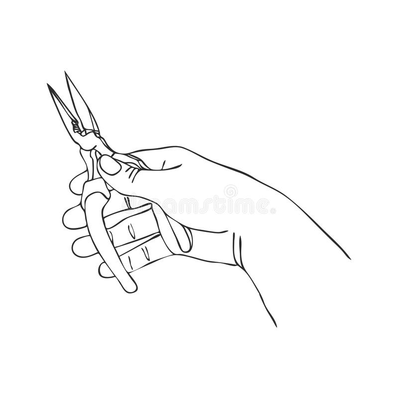 Vektorhand mit Zangen vektor abbildung